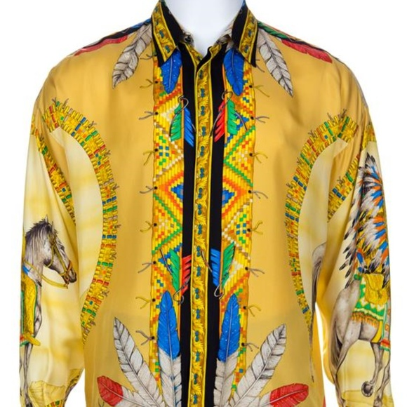 028b59f4 Gianni Versace Shirts | Atelier Silk Native American Print | Poshmark